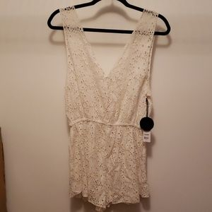 Ivory Lace Beach Cover-up- Romper